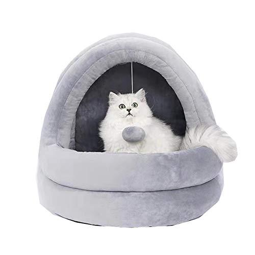CHIYEEE Katze Kleiner Hund Gemütliches Bett Haustiere Warm Iglu Haus Welpe Kätzchen Versteck Höhle, Kissen Waschbar, Grau, 42 * 40 * 38cm