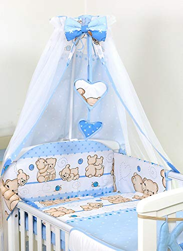 Ciel de lit/Baldaquin/ 230 x150cm + Support Flèche de lit (Teddies Blue Nounours Bleus Ours Bleu)