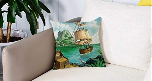 Mingdao Home Decor Sofa Werfen Kissenbezüge,Pirat, exotische Seeküste mit Truhe voller Gold Altes Schiff Tropic Nature Wealth Landscape, Multicolor,Kissen Cover Square Pillowcase
