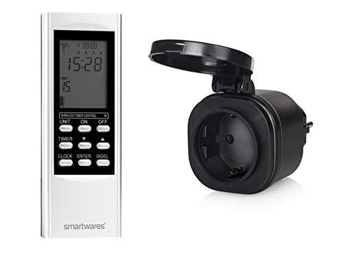 SmartHome Digitale Outdoor Funk Zeitschaltuhr = Außen-Funk-Steckdose + Timer-Fernbedienung, für Leuchten und Geräte bis max. 3500W