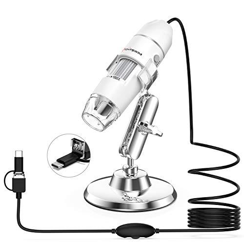 Microscopio digitale USB, Lightswim 50x e 1000x Mini Pocket Ingrandimento portatile con fotocamera HD 1080P 2MP / 8 luci LED per smartphone/tablet/PC (Livello di avvio, NON iPhone/iPad, Bianco)