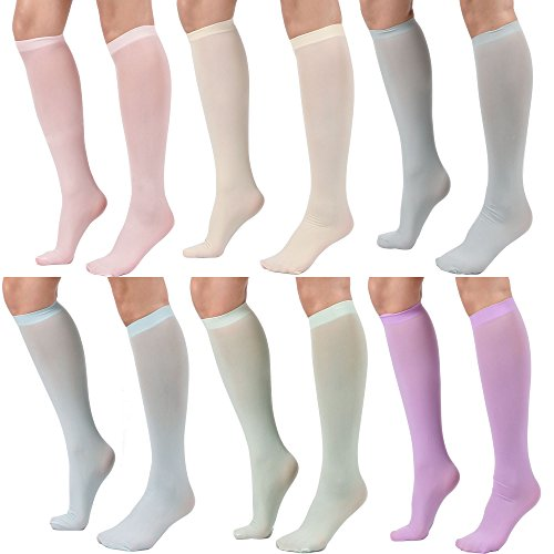 Women's Semi Opaque Knee High Trouser Sock 3pair / 6pair (One Size : XS to M, 6PAIR - Lt Pink/Mint/Lt Blue/Lt Gray/Lavender/Ivory)