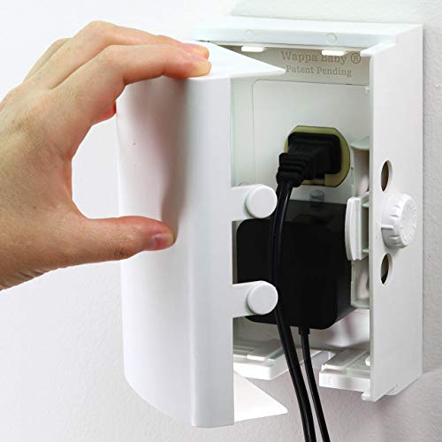 Baby Safety Outlet Cover BOX [Patent Pending] Double Lock for Much Better Toddler Proofing, Easier Operation, Simple 3 Step Install with Included Screws. Provides Extra Space Inside for Plugs,Adapters