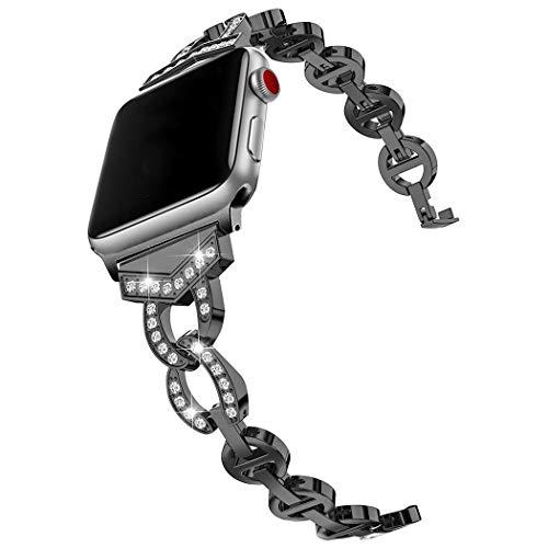 Compatible con Apple Watch 38mm Correas Negro, Brillo Glitter Acero Inoxidable Metal Brillante Ajustable Reemplazo Banda Pulsera Correa Compatible para Apple iWatch 40mm 38mm Series 5 4 Series 3 2 1