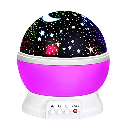 Toys for 7-8 Year Old Boys Girls, Wonderful Quiet Rotating Starlight Toys for 2-10 Year Old Girls Romantic Magical Xmas Halloween Gifts for 2-10 Year Old Boys Stocking Stuffers Purple TSUSXK02