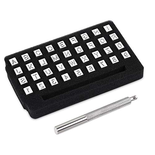 """Yangoutool 37 Pcs Alphabet and Number Stamp Punch Tools Set, 1/4""""(6mm) 26 Letters Alphabet & 10 Numbers Imprinted Metal Leather Punching Tools for Leather Craft Tool Making"""