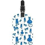 Etiquetas de Equipaje con diseño de Gatos Azules Silueta de Piel para Maleta de Viaje, 1 Paquete