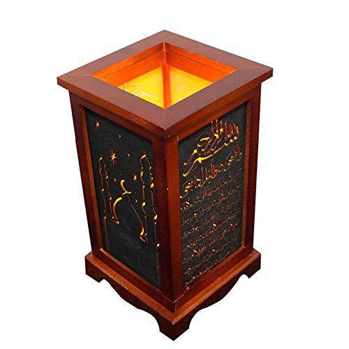 Cutfouwe Eid Mubarak Candle Lantern Wooden LED Ramadan Lights Vintage Hanging Lantern Wind Lamp Desktop Ornaments for Home Festival Decor Gift,5.5 * 9.64 in