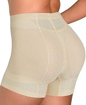 Hioffer Women Breathable Padded Boy Shorts Seamless Butt Lifter Hip Enchance Control Shaperwear Beige