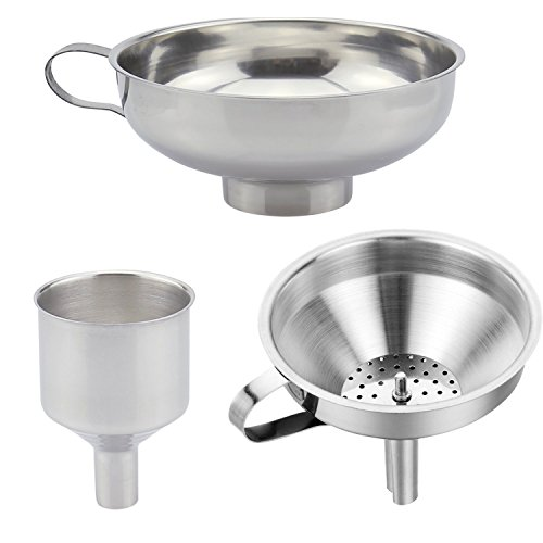 3 Pieces Funnel Durable Stainless Steel Kitchen Funnels with Strainer-Ideal