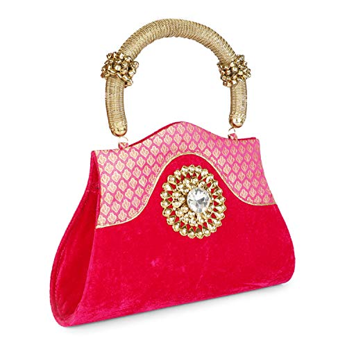 LONGING TO BUY Women's Velvet Large Party Hand Bag/Clutch with Golden Handle (Pink)