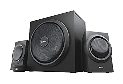 "Trust Yuri 2.1 Speaker Set with Subwoofer, PC Speakers with UK plug (120W Peak Power, Wooden Subwoofer with a 5.25"" Bass Driver, Wired Volume Control w/Headphones and Line-in Connections) Black by Trust"