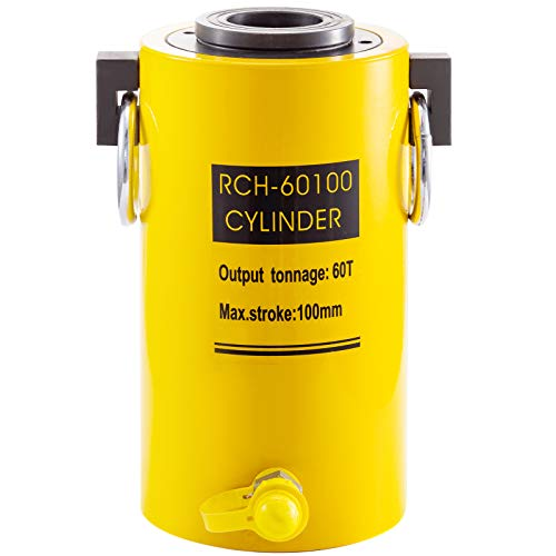 Mophorn 20T 30T 60T 100T Hydraulic Cylinder Jack Hollow Single Acting Hydraulic Ram Cylinder 50mm Hydraulic Lifting Cylinders for Riggers Fabricators (60T 4