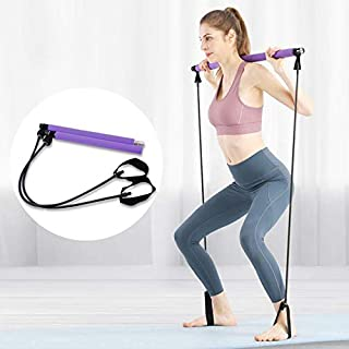 Pseudois Portable Pilates Resistance Band Yoga Exercise Pilates Bar with Foot Loop for Total Body Workout Traine