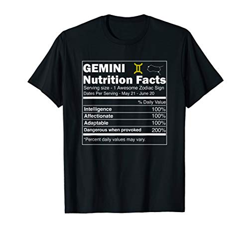 Gemini Shirts, Nutrition Astrology Zodiac Sign Horoscope T-Shirt