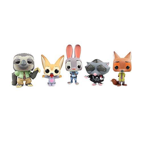 Figura Zootopia figura de acción de Zootropolis Figura Judy Hopps, Nick.Wilde, regalo creativo 4 pulgadas (Color : Full set (5 models))