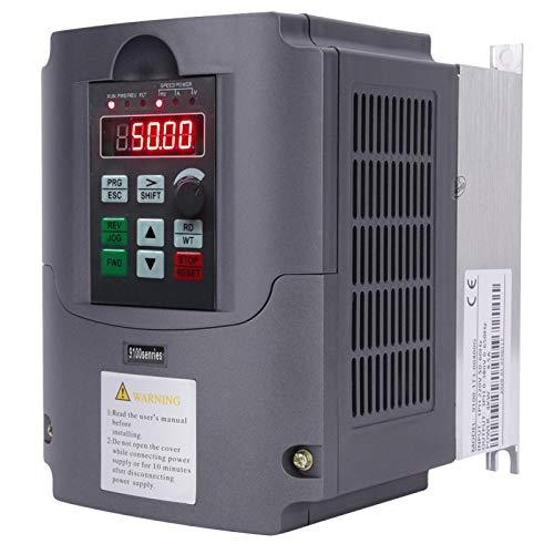 Inversor VFD, 4KW monofásico 220V a trifásico 380V, convertidor inversor controlador de frecuencia variable, para control de velocidad del motor