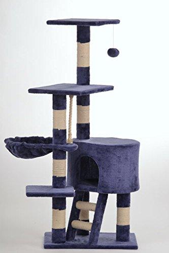 animal-design Kratzbaum CAT (22058) Kletterturm für Katzen Katzenbaum ca. 120 cm Höhe beige blau, Farbe:blau
