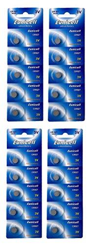 Eunicell 20 x CR927 3V Lithium Knopfzelle 30 mAh (4 Blistercards a 5 Batterien) EINWEG Markenware