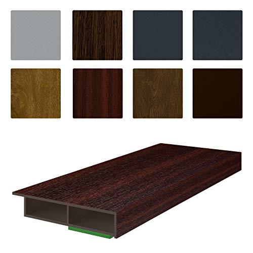 NOBILY *** Fenster/PVC Deckleiste Flachleiste Fensterleiste 50mm Breite x 7mm Höhe mit Überstand für Wandabschluss inkl. Schaumklebeband farbig - Länge 1950mm (5,08€ /m)- Farbe Mahagoni