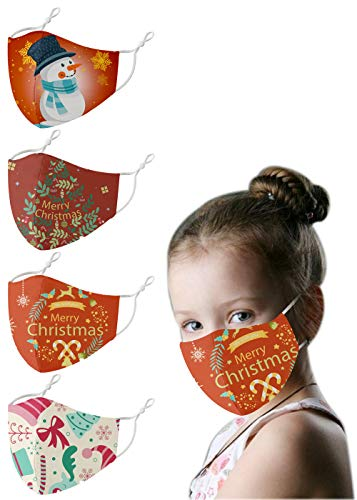 Fashionable Christmas Face Masks for Kids, Reusable Washable Cute Holiday Xmas Cloth Face Coverings with Adjustable Ear Loops (Mixed red)