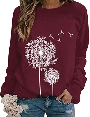 Dresswel Damen Löwenzahn Sweatshirt Langarmshirt Pusteblume Drucken Pullover Herbst Winter Bluse Tops Oberteile