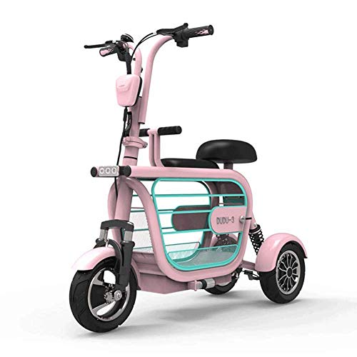 ZHHL Electric 3-Wheel Mobility Scooter, Lightweight Folding, Collapsible And Compact, Traveling With Pets Portable Electric Tricycles With Child Seat for Adults,48V8AH/35km