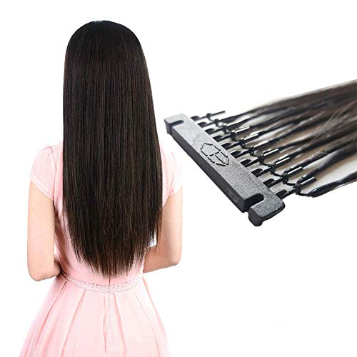 18 Pollici/45cm 50 Pezzi Estensione dei Capelli Human Hair Extensions Easy Loop Fibra Sintetica Termoresistente Liscio