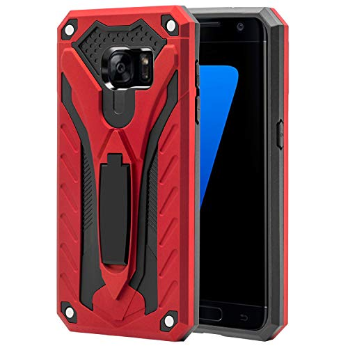 AFARER Case Compatible with Samsung Galaxy S7 5.1 inch, Military Grade 12ft Drop Tested Protective Case with Kickstand,Military Armor Dual Layer Protective Cover - Red