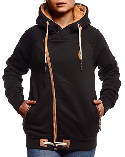 Leif Nelson Damen Übergangsjacke Freizeitjacke Sweatjacke mit Kapuze Oberteile Schwarze Jacke Baumwolle-Anteil Basic Hoodie für Frauen Kapuzenjacke Sweater LN0928 XL Schwarz