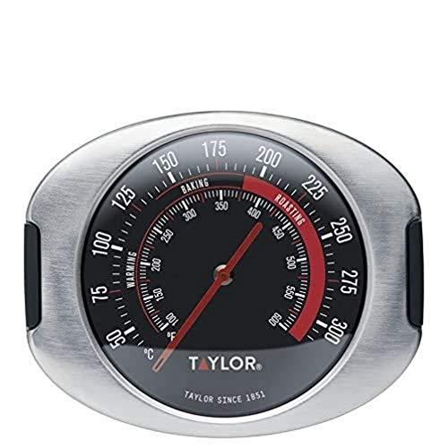 Taylor Pro Termometro da Forno, Misuratore di Temperatura da Cucina Preciso a Prova di Calore, Ideale per la Cottura al Forno e ai Fornelli, 5 Anni di Garanzia, Acciaio Inox Grigio