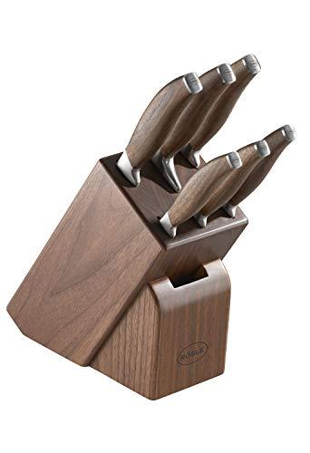 RÖSLE Messerblock Passion 7-tlg., Hochwertiger Messerblock aus Walnussholz mit 6 scharf geschliffenen Messern, Klingenspezialstahl, Walnussholz mit Edelstahlendkappen, Fingerschutz