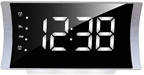 Reloj Despertador para Niños Dormitorio Dormitorio de Niños Pesados Reloj de Escritorio para Niños Eléctrico LED Pantalla Digital Temperatura Snooze Dimmer Pantalla de Arco Radio FM, Estudiante