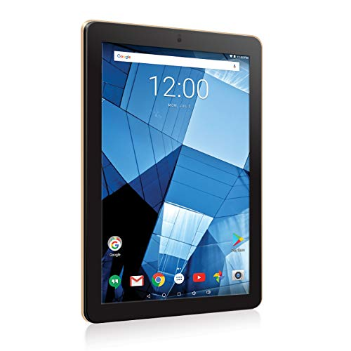 RCA 10 inches HD IPS 1280 x 800 Touch Screen 128GB Quad-Core Tablet w/Extended Battery WiFi Keyboard Android 7.0 (Gold)
