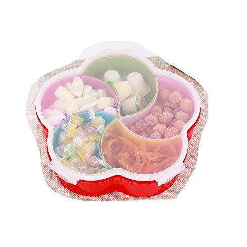LZK Haushaltsaufbewahrungsspleiß-Obstteller, versiegelt mit Deckel trockener Obstteller, Obstbox mit fünf Gittern Null/rot/Einheitsgröße