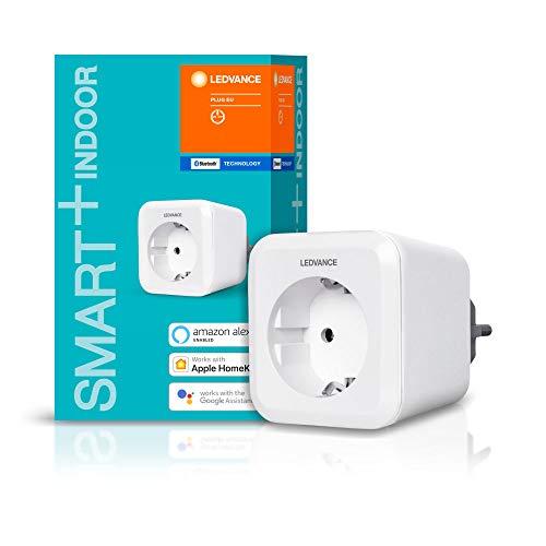 LEDVANCE Smarte Steckdose mit Bluetooth Technologie, für die Steuerung konventioneller Geräte im Smart Home, steuerbar mit Google und Alexa Voice Control sowie Apple HomeKit, SMART+ BT PLUG, 1er-Pack