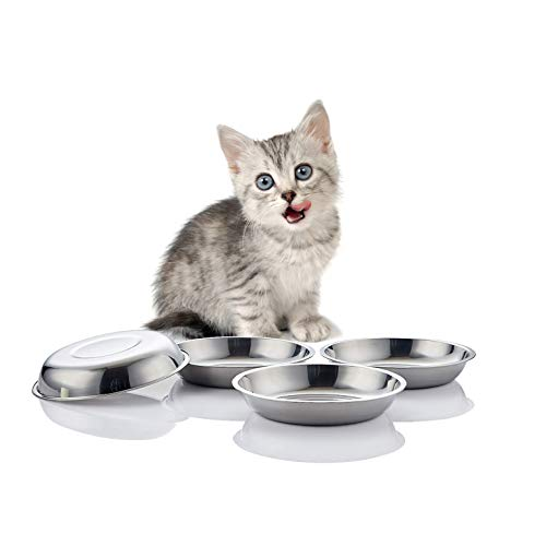 FENGDING Global Cat Food Dish, Whisker Relief Cat Bowls, Stainless Steel Pet Bowls, Shallow Cat Dish, 10 Oz Dog Food Bowls, Outer Dia. 5 4/5 Inches, Set of Four