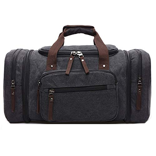 Unisex Canvas Holdall, AIZBO Travel Carry On Duffels Bags Overnight Weekend Weekender Bag for Men and Women (Expansion Capacity: 58 * 25 * 30cm)(Black)