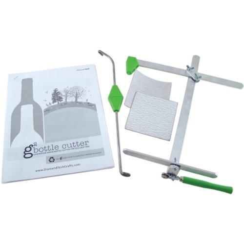 Diamond Tech Crafts - Cortabordes manual para botellas, de metal, color plateado y verde (365)