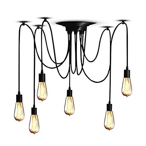 Lampop Lámpara del Techo Vintage LED Lámpara de Pared Industrial Araña Iluminación Techo Retro Lámpara Araña Luz de techo Ajustable DIY con 6 Brazos Casquillo E27 [Clase de eficiencia energética A]