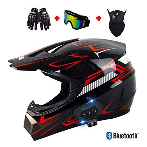 Motocross Helm Erwachsene, Herren Crosshelm mit Intercom Bluetooth-Headset, Motorrad Offroad Helm Set mit Handschuhe Maske Brille, Motorradhelm Damen Endurohelm Downhillhelm ATV MTB BMX-Helm,Rot,XL