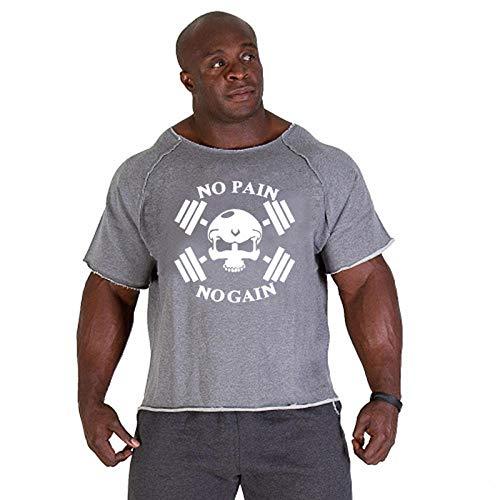 AOQW Mens T-Shirt Tops Men Gyms Fitness Shirt Mens Weightlifting Bodybuilding Workout Gym Vest Fitness Men tee-Skull_Gary_White_XXL