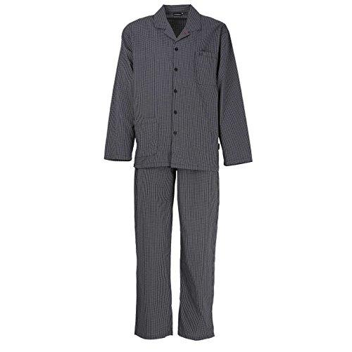 Götzburg Herren Pyjama, Schlafanzug, Oberteil und Hose - Langarm, Baumwolle, Popeline, schwarz, kariert, mit Eingriff 50
