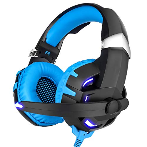 YPJKHM Professionelles Gaming-Headset Gaming-Headset mit 7.1-Surround-Stereoanlage, Ps4-Headset mit geräuschunterdrückendem Mikrofon und LED-Lichtemission-Blue