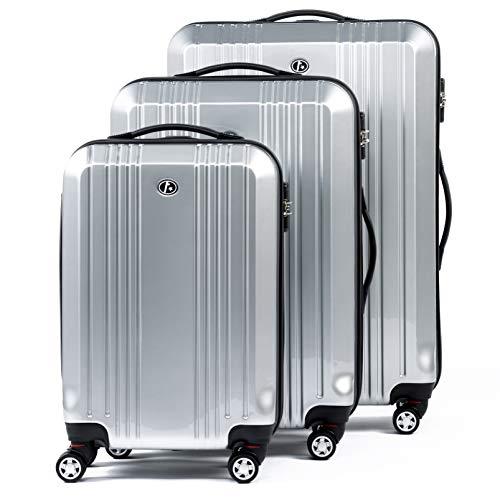 FERGÉ Kofferset Hartschale 3-teilig Cannes Trolley-Set mit Handgepäck 3er Set Hartschalenkoffer Roll-Koffer Reise-Trolley mit 4 Rollen ABS & PC Silber