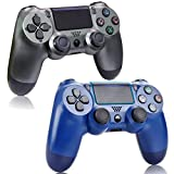 2 Pack Wireless Controller for PS4 - Remote Joystick Gamepad for Sony Playstation 4 with Charging Cable and Double Shock, Midnight Blue and Steel Black