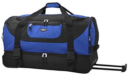 Travelers Club Luggage Upright Rolling Duffel Bag, 30 Inch 120.4L, Blue