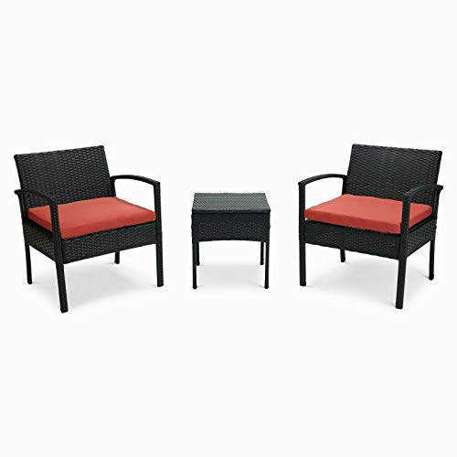 Qinghongkeen 3 Pieces Patio Furniture Sets Rattan Wicker Patio Set, Weave Conversation Outdoor Chairs Rattan Sofa Set with Coffee Table, Cushioned Chairs Suitable for Patio Garden Lawn Backyard Pool