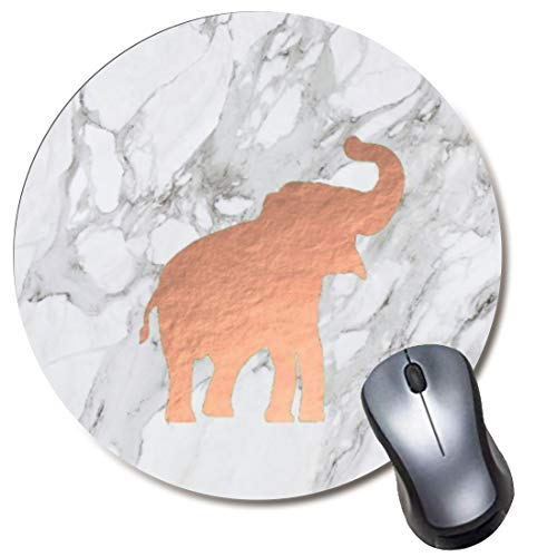 Yaxazepluy - Rose Gold Elephant on White Marble Mouse Pad, Gaming Round Mousepad for Computer Laptop Non-Slip Rubber Desk Mat,Cute Office Gift(8 Inch)