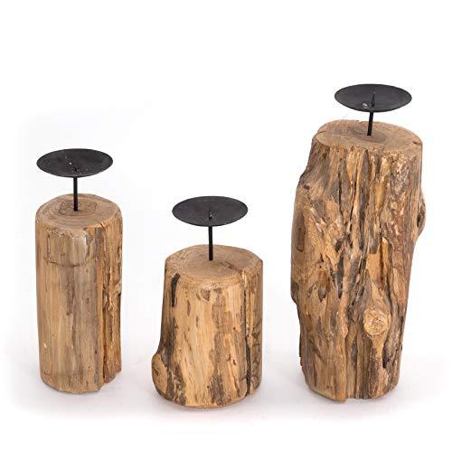 DESIGN DELIGHTS TREIBHOLZ KERZENHALTER Set TAVERNE | 3 Größen, Recyclingholz aus Fundholz & Treibholz | Kerzenständer im Astdesign mit Metallhalterungen, rustikale Stumpenkerzenhalter aus Ästen